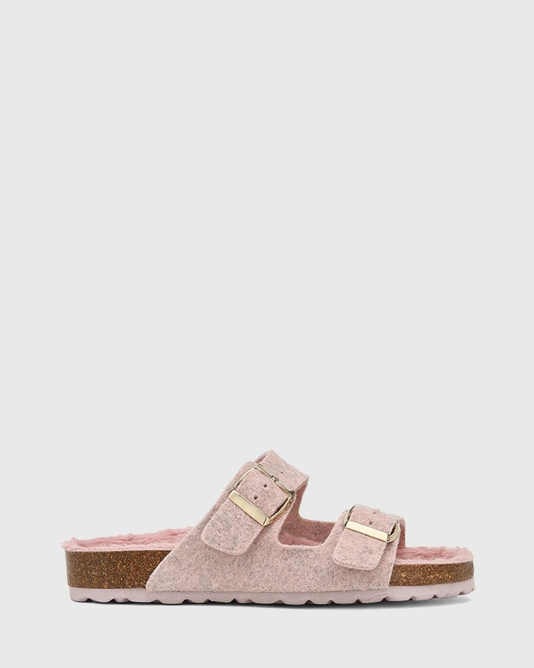 Wittner Uro Recycled Felt Slides Sandals Nude