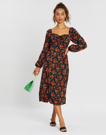 Missguided - Milkmaid Long Sleeve Floral Midi Dress