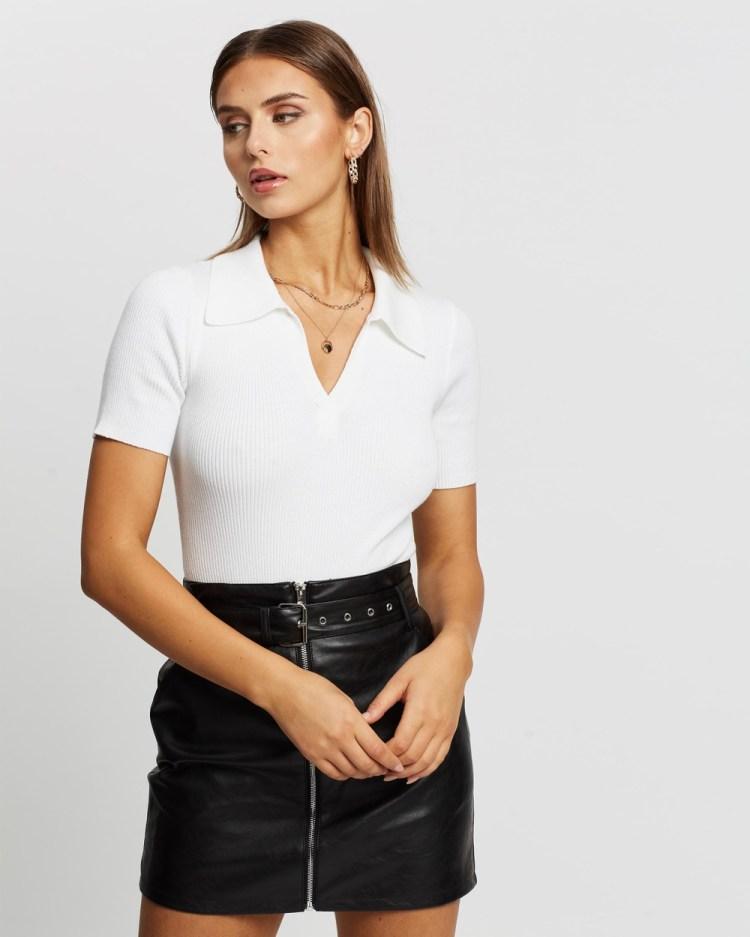Glamorous Ribbed Polo Bodysuit Tops White