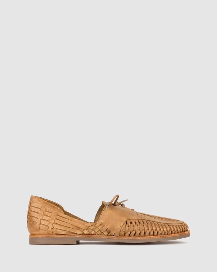ZU Charter Woven Leather Huaraches Casual Shoes Tan