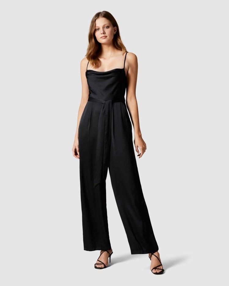 Forever New Eden Satin Cowl Jumpsuit Bridesmaid Dresses Black