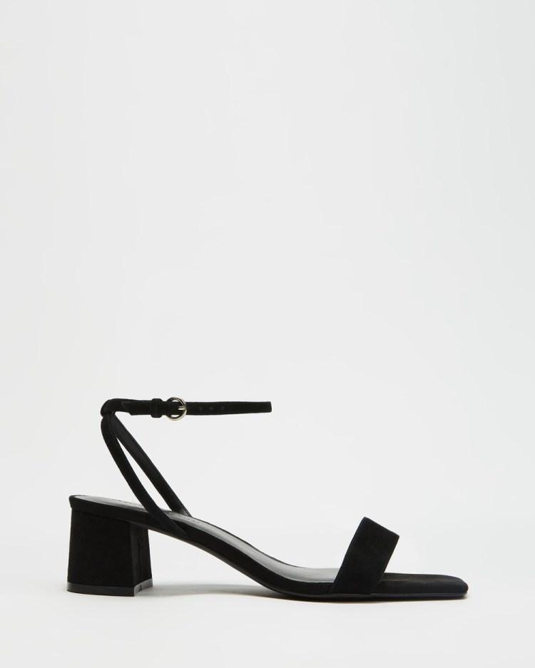 Atmos&Here Bacio Leather Heels Mid-low heels Black Suede