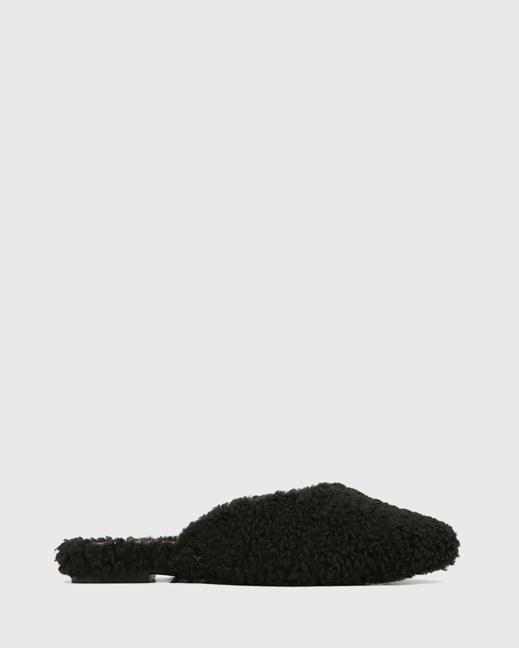 Wittner Eclectic Faux Shearling Mules Heels Black