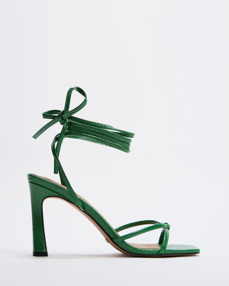 TOPSHOP Rally Mid Ankle Tie Sandals Green Mid-Ankle