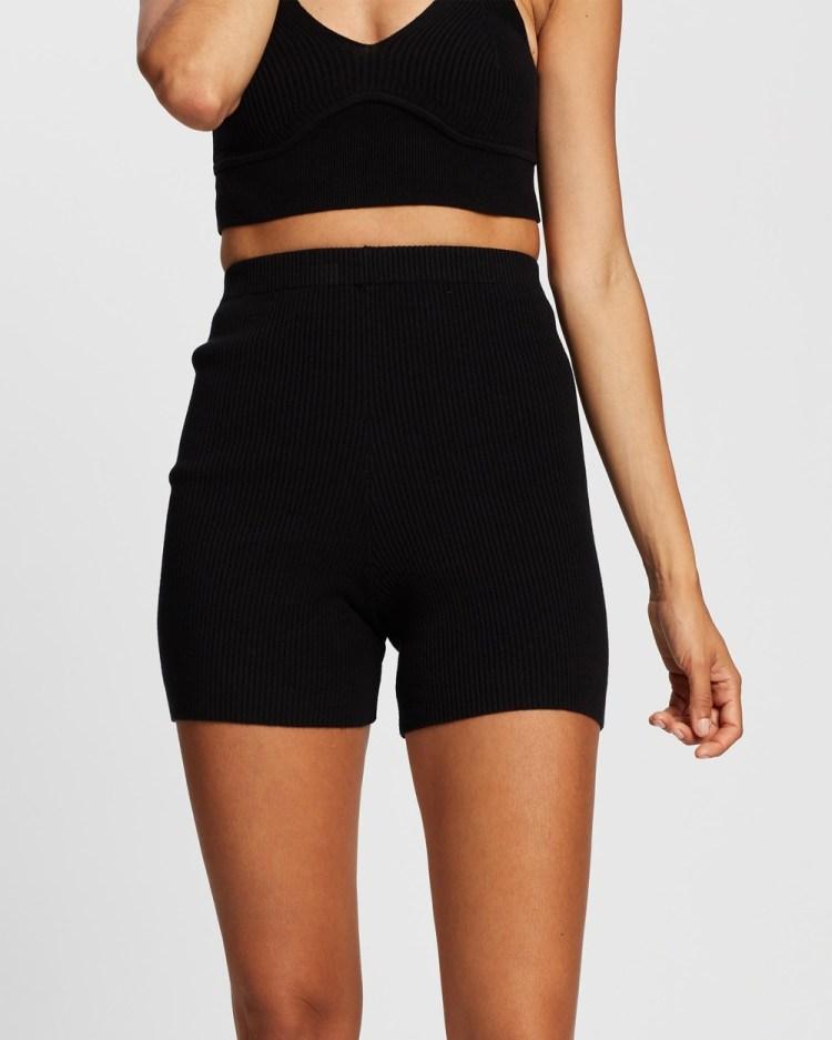 AERE Ribbed Knit Shorts High-Waisted Black