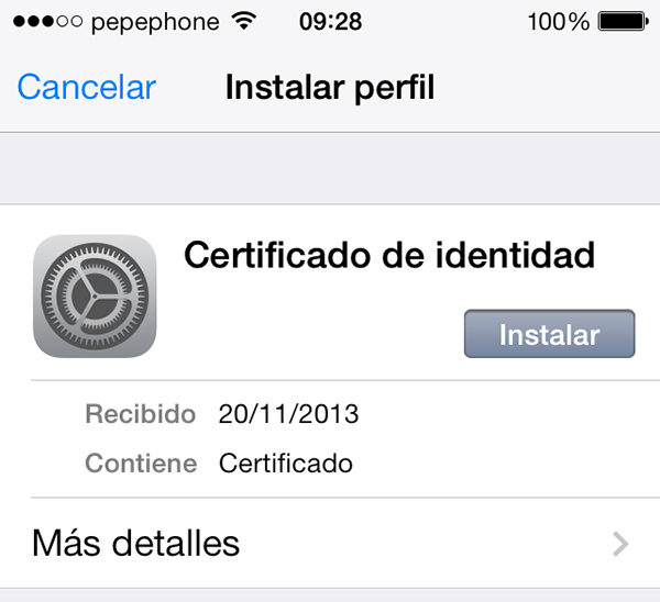 Instalar Certificado Identidad iPhone iPad