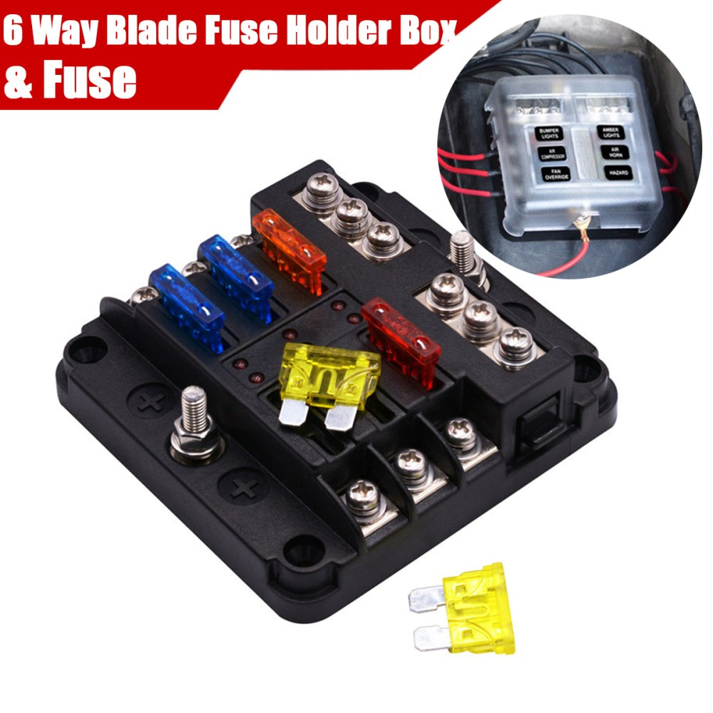medium resolution of details about 6 way car auto boat bus utv blade fuse box block with 12pc fuse led indicator