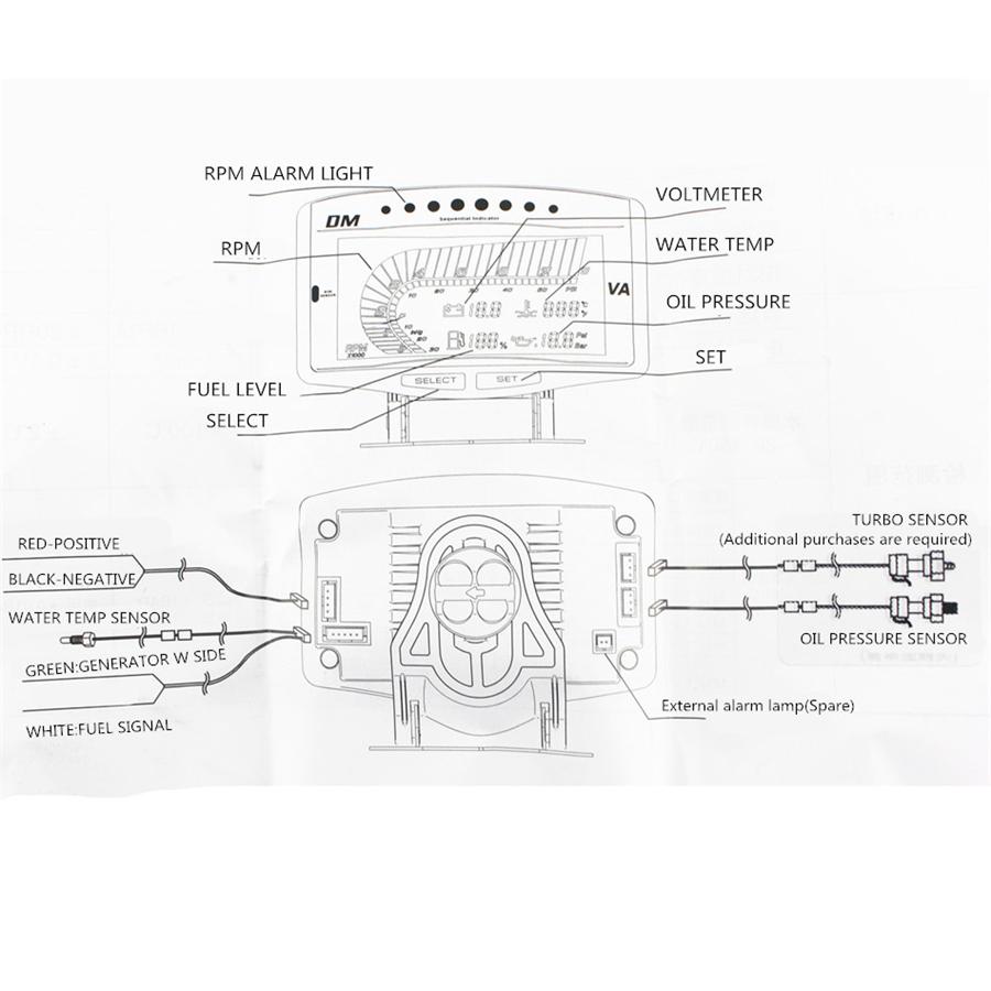 hight resolution of 5 function 12v 24v truck car oil pressure gauge volt voltmeter water temperature gauge fuel gauge tachometer