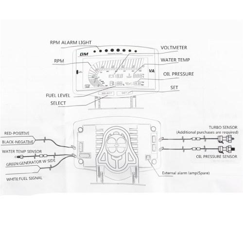 small resolution of 5 function 12v 24v truck car oil pressure gauge volt voltmeter water temperature gauge fuel gauge tachometer