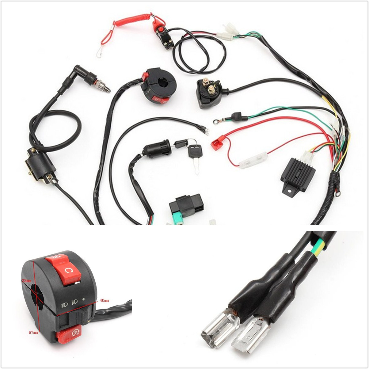 hight resolution of details about professional cdi motorcycle wiring harness loom solenoid coil rectifier 50 125cc