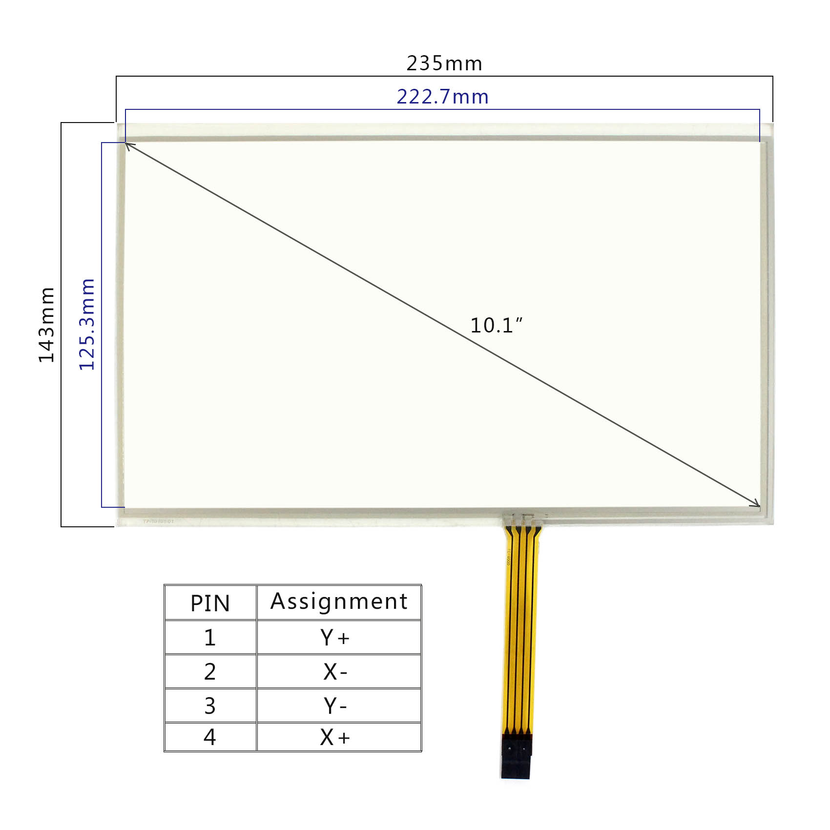 hight resolution of details about 4pin fpc connector dimension size 235mm x 143mm work for 10 1inch lcd screen