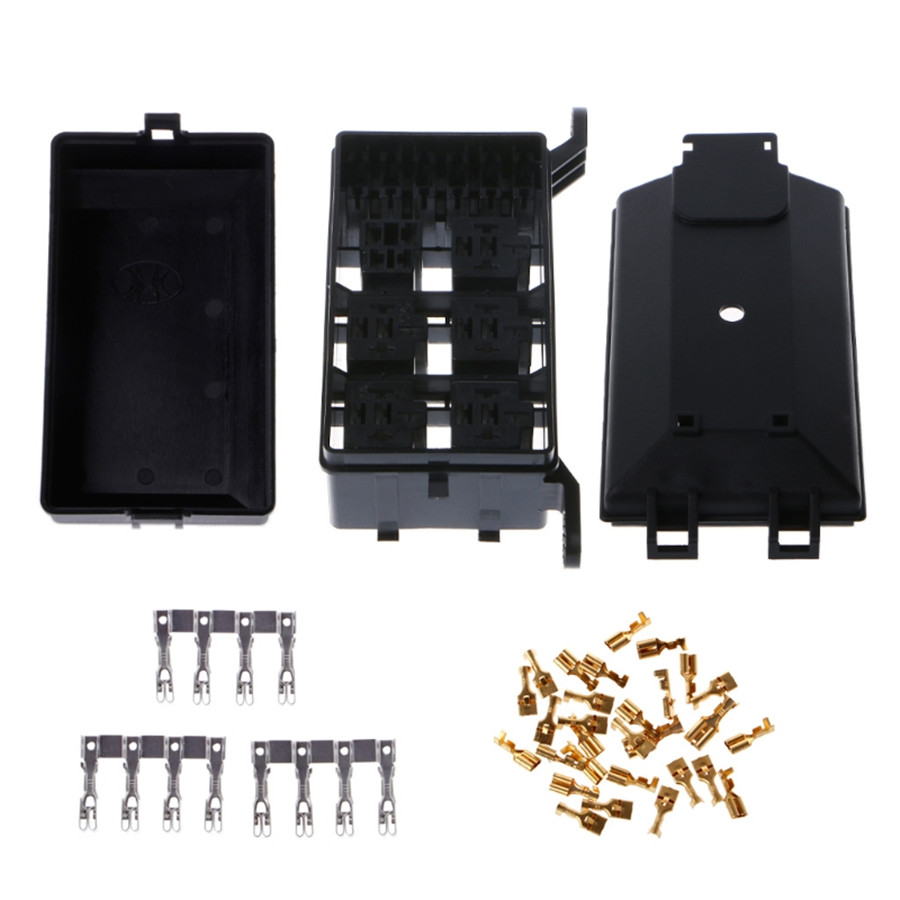 hight resolution of product name fuse box material plastic metal color black size 73mmx123mmx94mm interchange part number automotive fuse box relay holder 6 relay 5 road