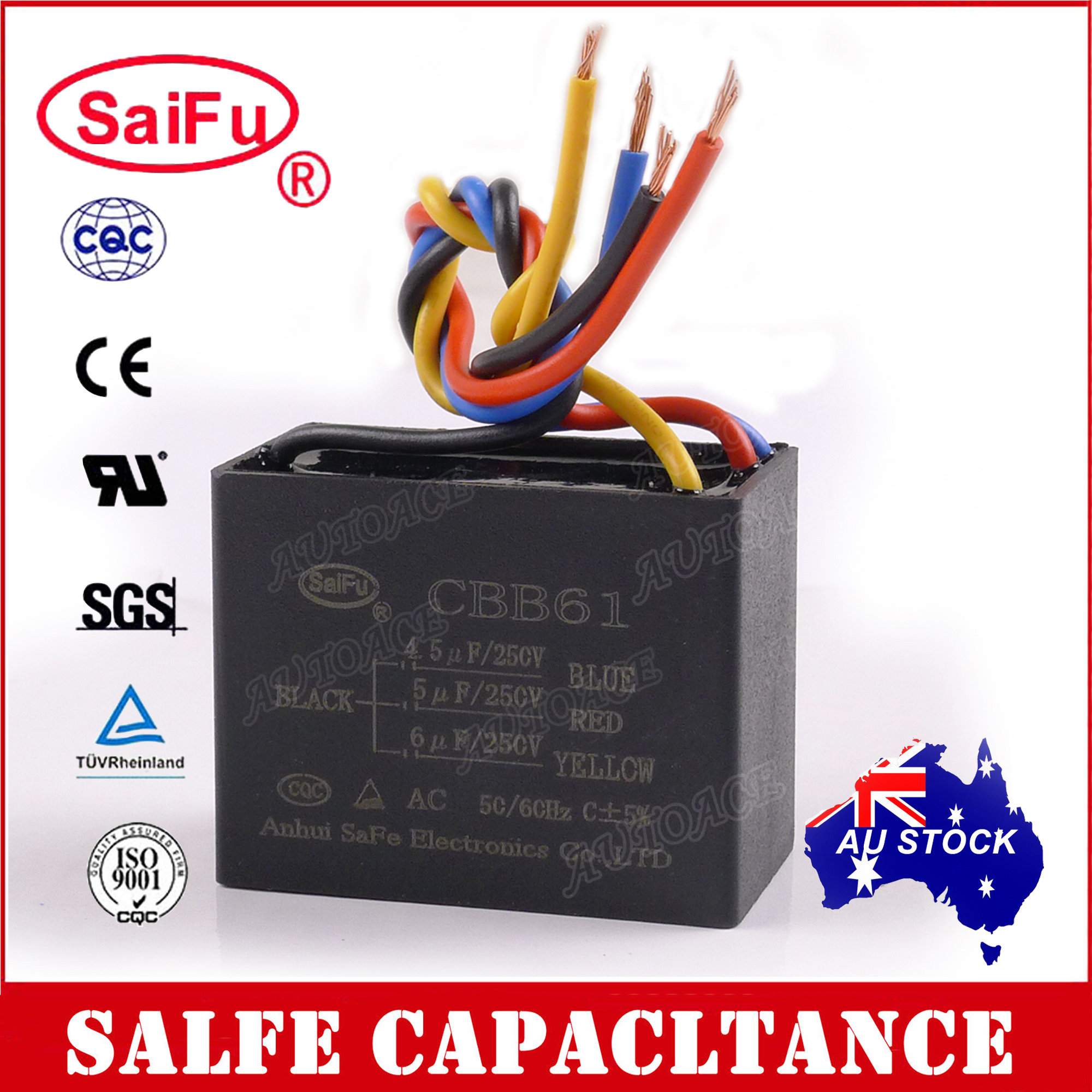 hight resolution of rated capacitance 4 5uf 5uf 6uf color black cover material pf type metalized polypropylene film capacitor wire 4 wires