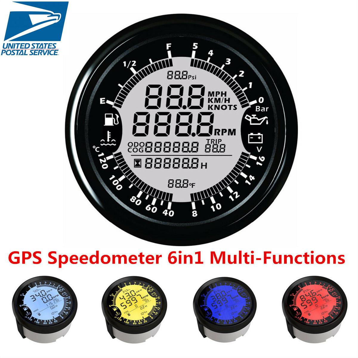 hight resolution of details about 6in1 multi function gps speedometer tachometer gauge water temp volt meter 85mm