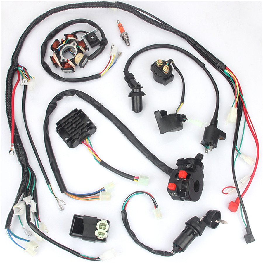 hight resolution of details about electric wiring harness kit magneto stator for gy6 125cc 150cc atv quad scooter