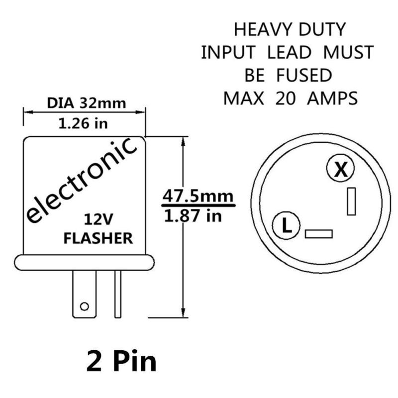 2-Pin Prong 12V 20A LED Electronic Flasher Turn Signal