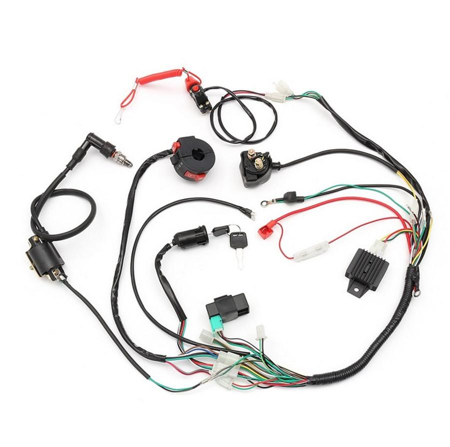 medium resolution of universal wiring harness loom solenoid coil rectifier cdi 50 70 90 110 125cc atv quad bike go kart