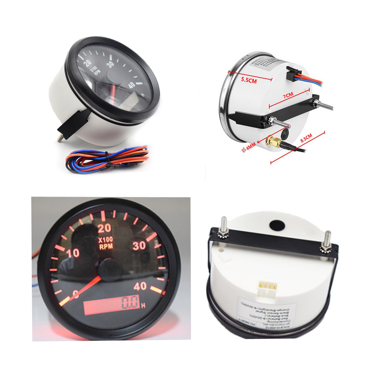 hight resolution of details about car marine tachometer 4000 rpm diameter 85mm 9 32v dc lcd tacho hour meter