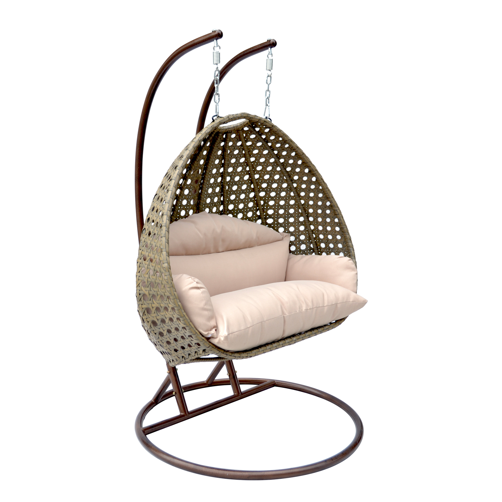 egg chair swing back of organizer 2 person wicker basket patio outdoor