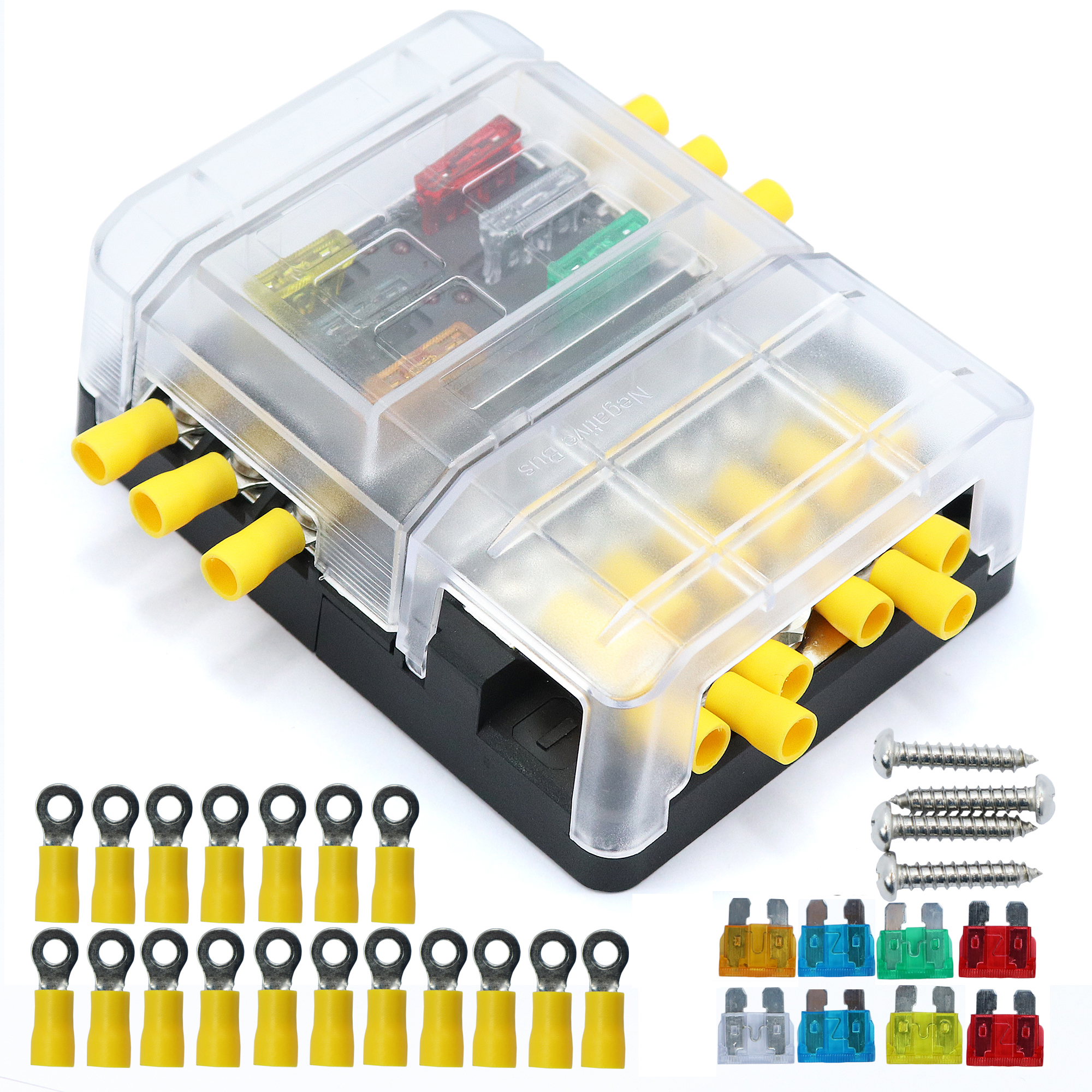 hight resolution of details about car boat 6 way junction box fuses holder terminal kits with waterproof cover