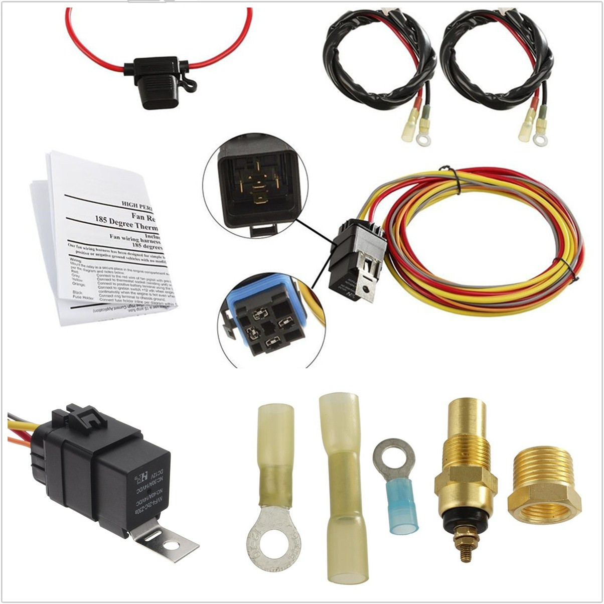 hight resolution of details about universal 12v car offroad dual electric cooling fan wiring harness kit 40a relay
