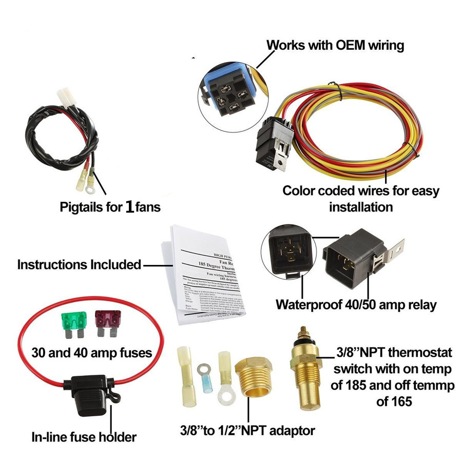 hight resolution of car 185 165 electric cooling fan wiring harness thermostat sensor 40a relay kit