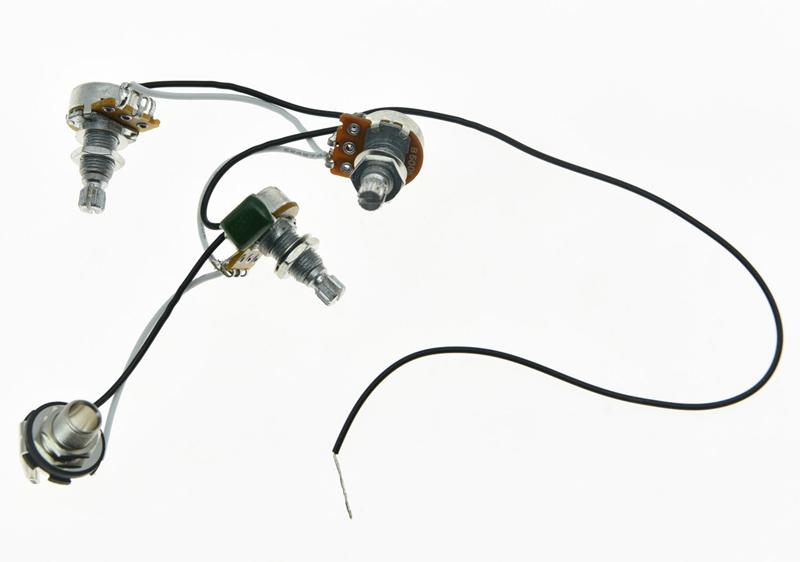 Bass Prewired Wiring Harness Alpha 500K Mini Pots 2V1T 1