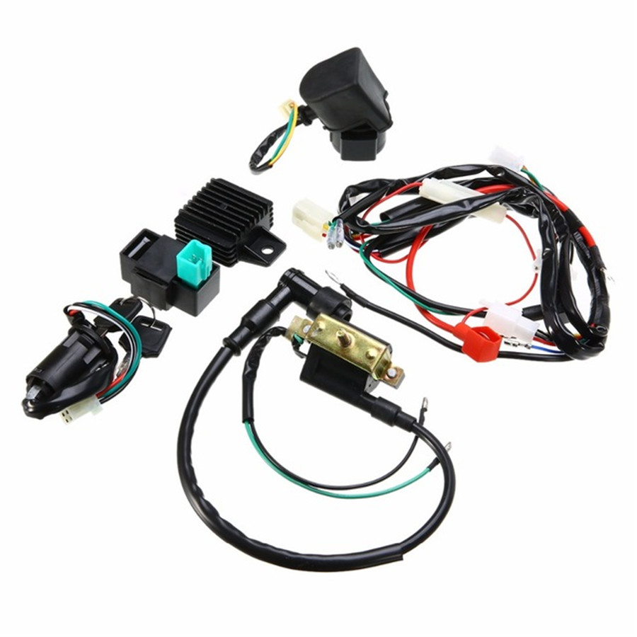 medium resolution of details about motorcycle ignition wiring harness kit for 50cc 110cc 125cc quad dirt bike atv