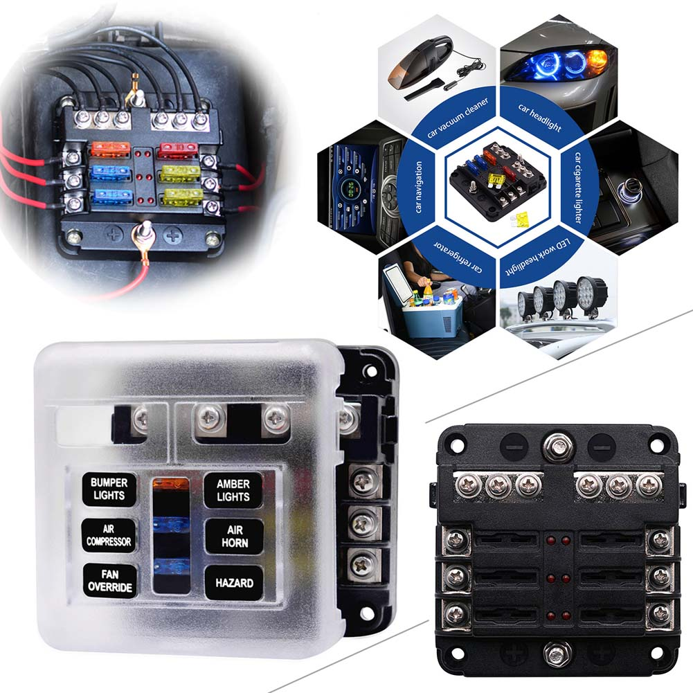 hight resolution of details about 6 way blade led fuse holder box block case atc ato car truck boat marine bus 32v