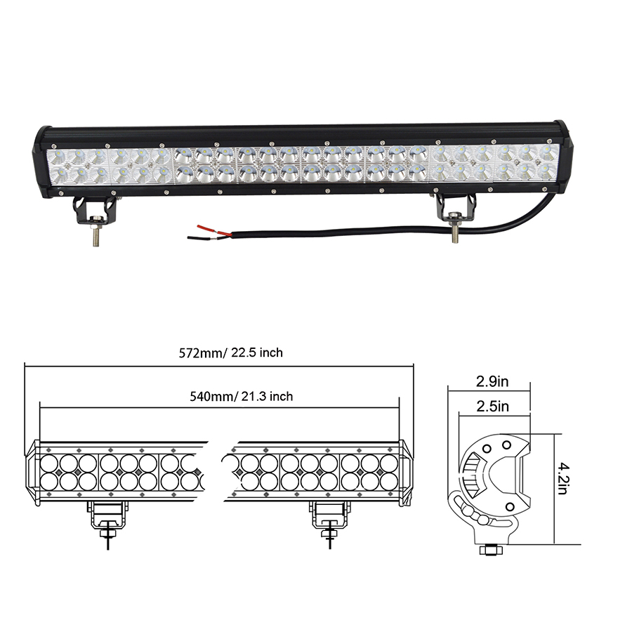 22Inch 144W LED Light Bar for Offroad Jeep Truck Boat ATV
