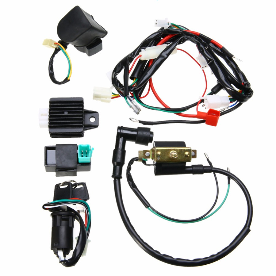 hight resolution of details about motorcycle ignition key coil wiring harness kit for 50cc 110cc 125cc dirt bike