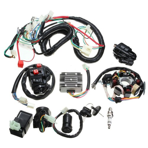 small resolution of motorcycle atv quad electric spark plug switch razor cdi coil wire harness set