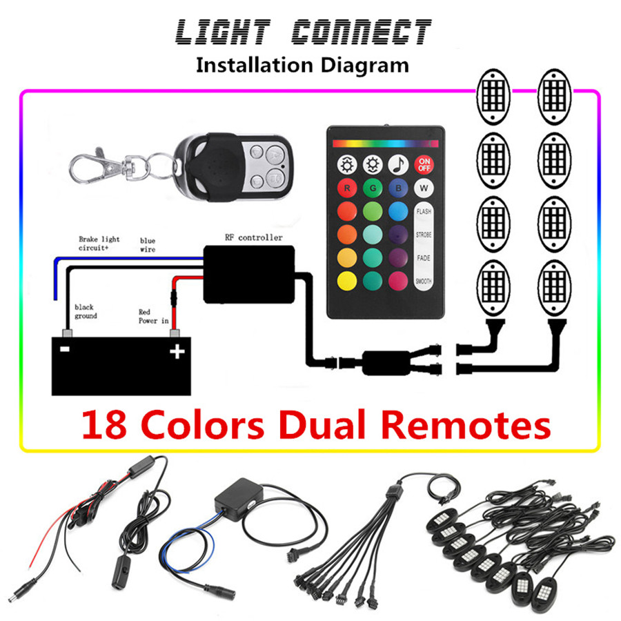 medium resolution of 8pcs ip68 waterproof remote control rgb led rock lights they are in good condition with the adoption of solid plastic material and delicate workmanship