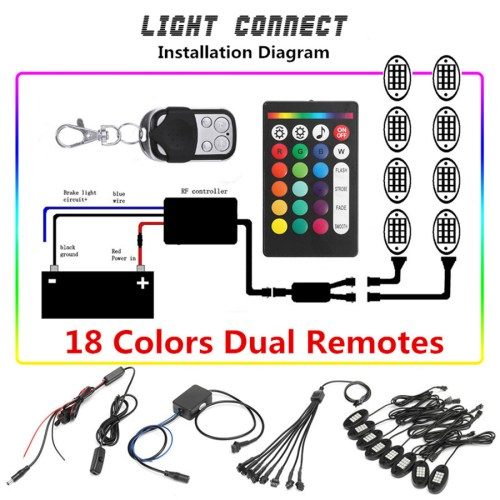 small resolution of 8pcs ip68 waterproof remote control rgb led rock lights they are in good condition with the adoption of solid plastic material and delicate workmanship
