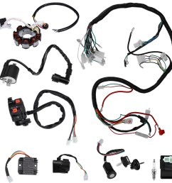 details about complete electrics wiring harness for atv quad 150 200 250 300cc kawasaki stator [ 1000 x 1000 Pixel ]
