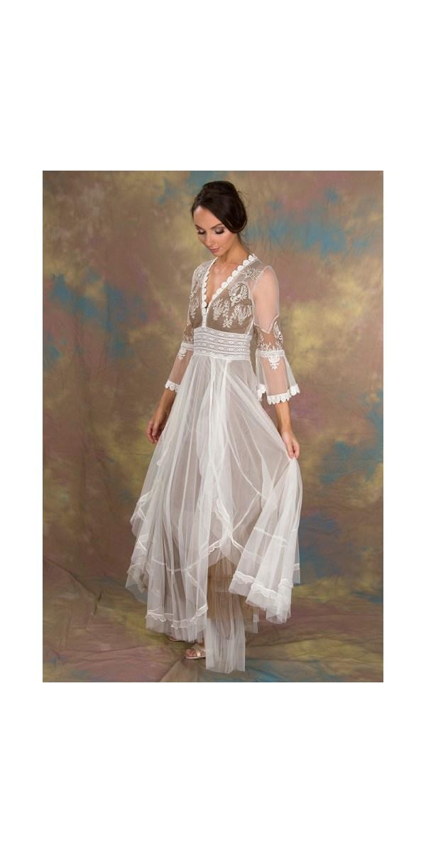 Bohemian Pompadour Dress In Ivory Beige