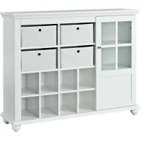 Altra Reese Park Storage Cabinet with 4 Fabric Bins Glass