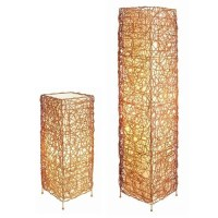 ORE Wicker Table Lamp and Floor Lamp Set with Square Shade ...