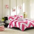 Pink and white chevron bedding set