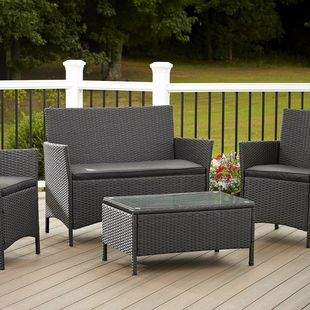 Outdoor 4 Piece Set Resin Wicker Patio Furniture Chair Table Black Grey Cushions  eBay