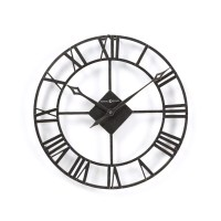 Round Wrought Iron Wall Clock Designer Black Quartz Large ...