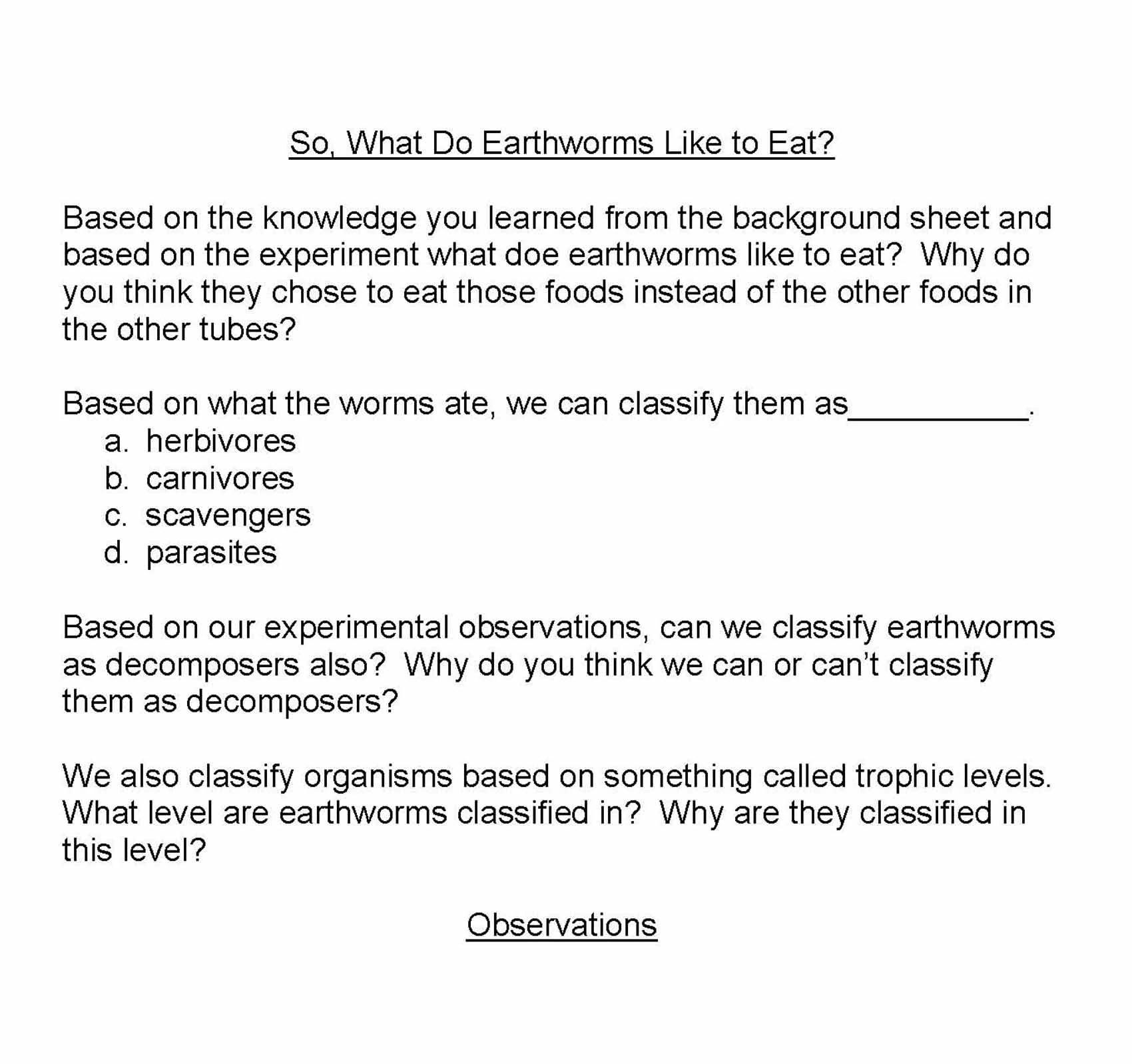 Earthworm Ecosystems What Do Earthworms Like To Eat