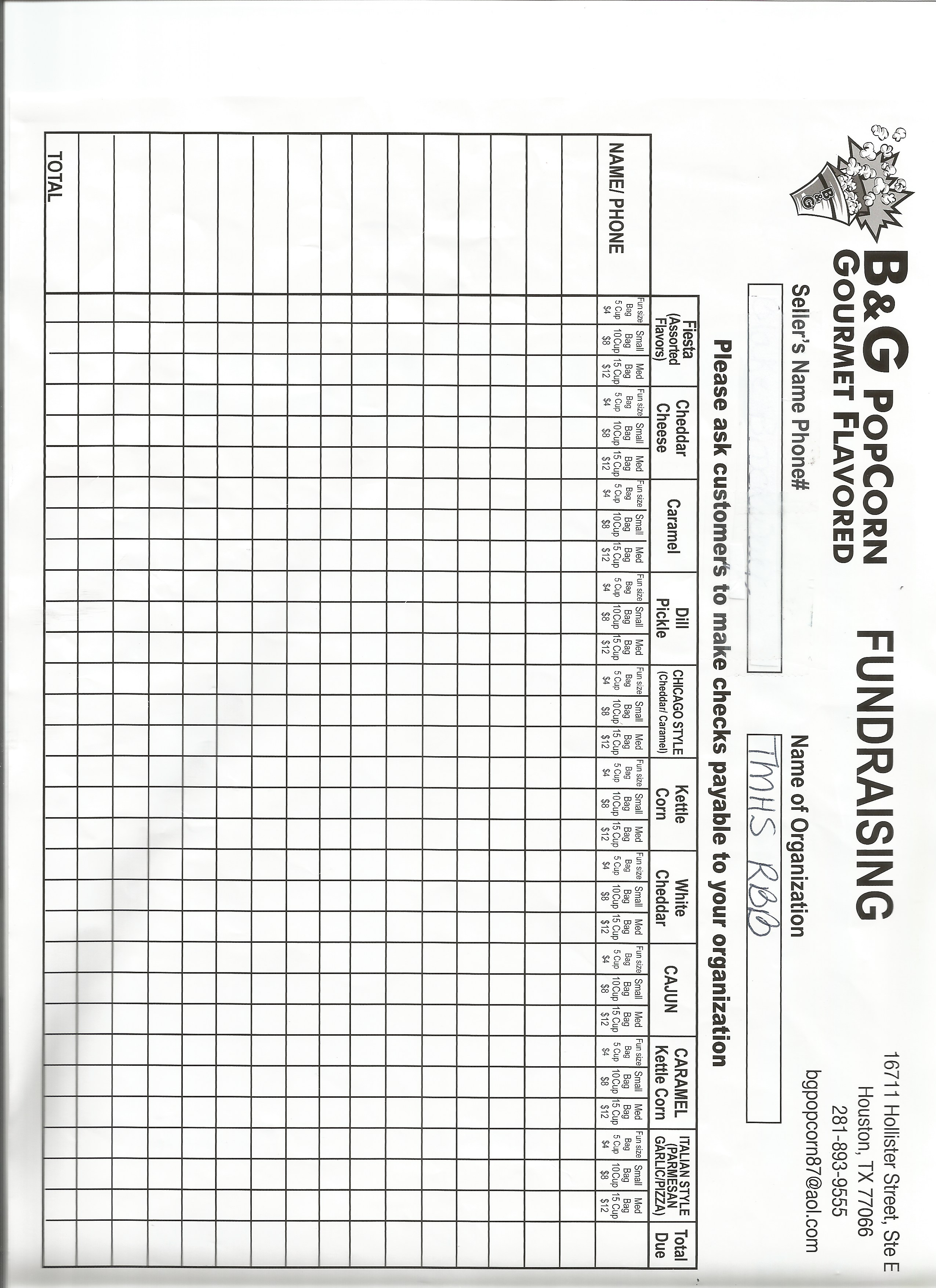 popcorn fundraiser order form