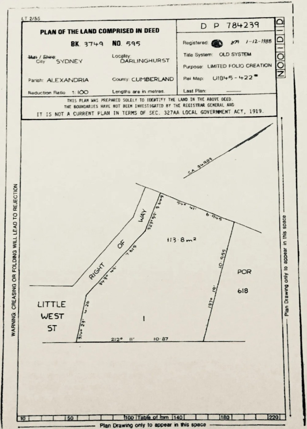 medium resolution of plan shows an abandoned common law title strip of land marked right of way