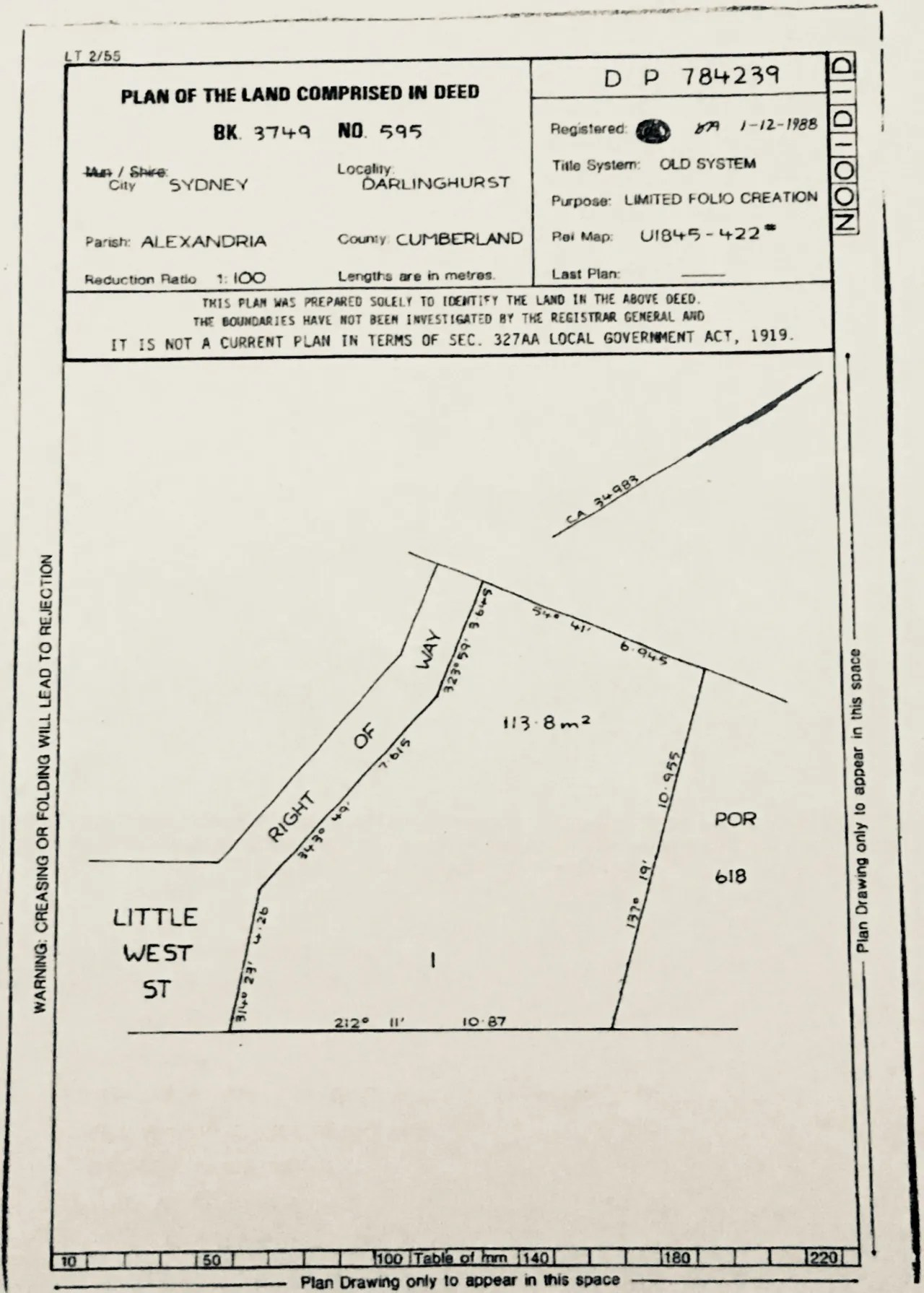 hight resolution of plan shows an abandoned common law title strip of land marked right of way