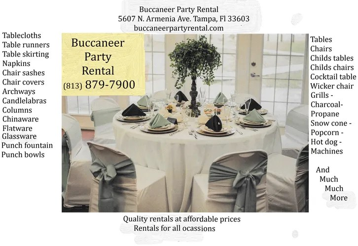 table and chair rental prices mid century lounge chairs party supplies buccaneer image36