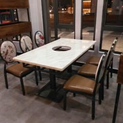 Custom Restaurant Tables And Chairs Swing Patio Chair Supply Hangzhou Hotpot Marble Table Made Black Cast Iron Feet 4