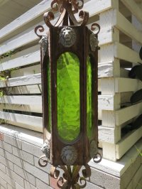 Vintage Wrought Iron, Wood, & Green Glass Swag Lamp ...