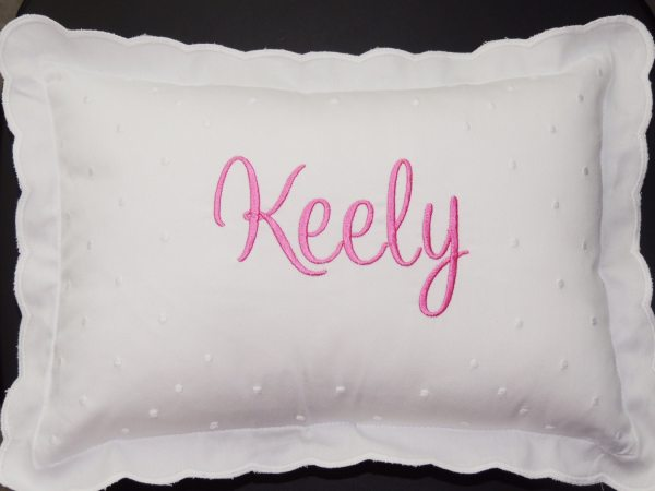 Monogrammed Baby Pillow , Personalized Swiss Dot Nursery Pillow , Great for newborn photos ...