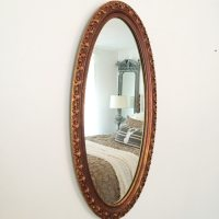 Large Wall Mirror, Gold Ornate Oval Bathroom Mirror
